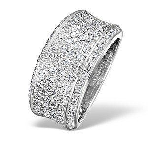18K White Gold H/Si Diamond Ladies Pave Ring