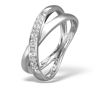 18K White Gold Ladies H/Si Diamond Crossover Ring