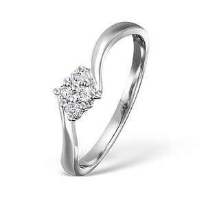 18K White Gold Ladies Cluster H/Si Diamond Ring