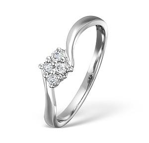 18K White Gold Ladies Cluster H/Si Diamond Ring