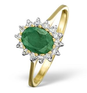 18K Gold Diamond and Emerald Cluster Ring