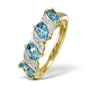 18K Gold Diamond and Blue Topaz Half Eternity Ring