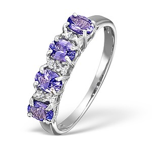 18K White Gold Diamond and Tanzanite Half Band Cluster Ring