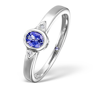 18K White Gold Diamond and Tanzanite Rubover Ring