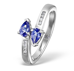 18K White Gold Diamond and Tanzanite Crossover Ring