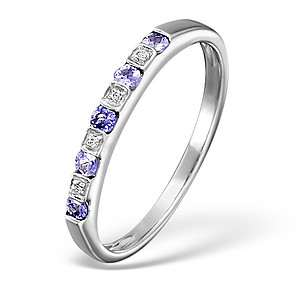 18K White Gold Diamond and Tanzanite Half Eternity Ring