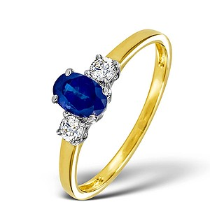 18K Gold 0.20CT Diamond and 6 x 4mm Sapphire Ring