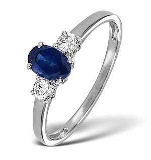 18K White Gold 0.20CT Diamond and 6 x 4mm Sapphire Ring