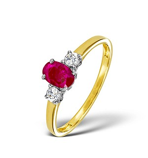 18K Gold 0.20CT Diamond and 6 x 4mm Ruby Ring