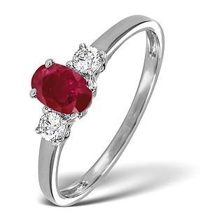 18K White Gold 0.20CT Diamond and 6 x 4mm Ruby Ring