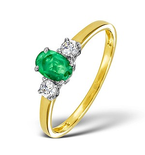 18K Gold 0.20CT Diamond and 6 x 4mm Emerald Ring
