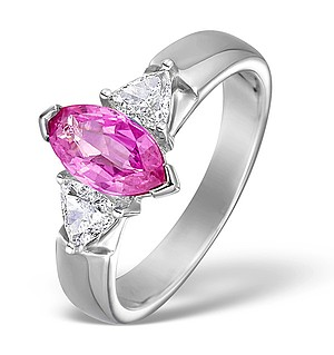 18K White Gold Diamond and Pink Sapphire Ring 0.40ct PS 1.51ct