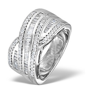 18K White Gold Diamond Big Fancy Crossover Ring 1.00ct