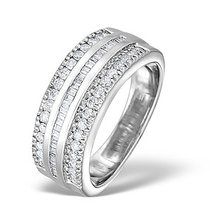 18K White Gold Diamond Big Fancy Half Band Ring 0.75ct