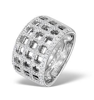 18K White Gold Diamond Squares Design Pave Ring 0.52ct