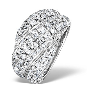 18K White Gold Diamond Big Fancy Pave Ring 2.28ct