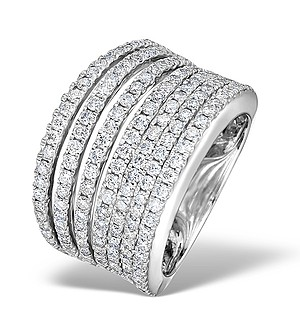 18K White Gold Diamond Big Fancy Pave Ring 2.00ct