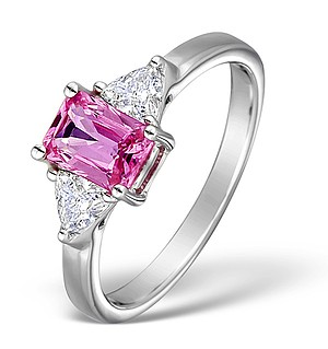 18K White Gold Diamond and Pink Sapphire Ring 0.40ct PS 1.04ct