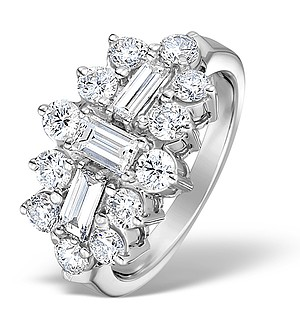 18K White Gold Diamond Big Fancy Cluster Ring 2.00ct