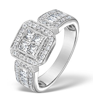 18K White Gold Diamond Exclusive Pave Ring 1.00ct