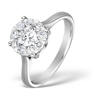 18K White Gold Diamond Cluster Solitaire Ring 0.78ct