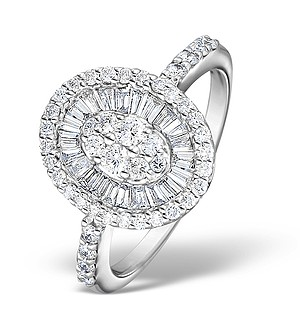 18K White Gold Diamond Pave Cluster Ring 1.00ct