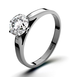 Certified 1.00CT Chloe Low 18K White Gold Engagement Ring H/SI1