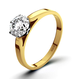 Certified 0.90CT Chloe Low 18K Gold Engagement Ring H/SI2
