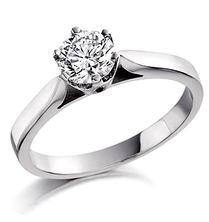 Certified 0.50CT Chloe Low 18K White Gold Engagement Ring G/VS2