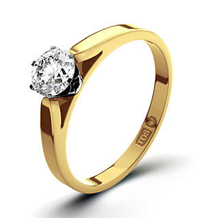 Certified 0.50CT Chloe Low 18K Gold Engagement Ring G/VS1