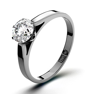 Certified 0.70CT Chloe Low 18K White Gold Engagement Ring G/VS1
