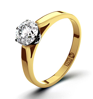 Certified 0.70CT Chloe Low 18K Gold Engagement Ring H/SI2