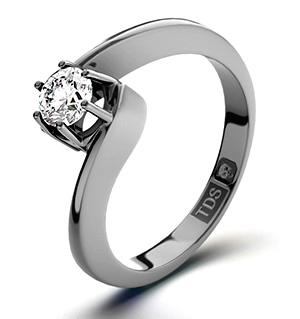 Leah 18K Platinum Diamond Engagement Ring 0.25CT-F-G/VS