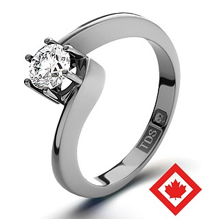 Leah 18K Platinum Canadian Diamond Ring 0.30CT H/SI1