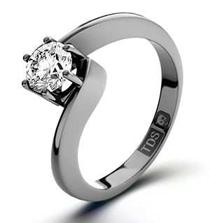 Certified 0.90CT Leah 18K White Gold Engagement Ring H/SI1