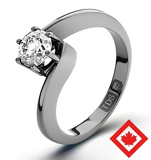 Leah 18K Platinum Canadian Diamond Ring 0.50CT H/SI1
