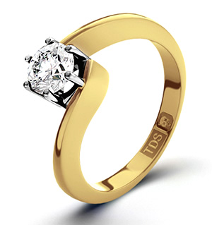 Certified 0.90CT Leah 18K Gold Engagement Ring H/SI2