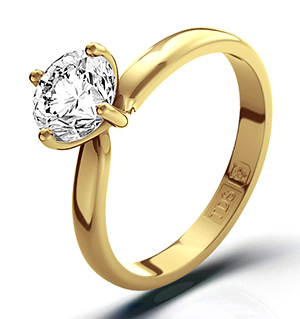 Certified 1.00CT Lily 18K Gold Engagement Ring H/SI2