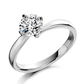 Certified 0.50CT Lily 18K White Gold Engagement Ring G/VS2