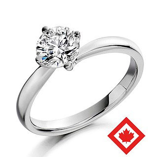 Lily 18K White Gold Canadian Diamond Ring 0.50CT H/SI1
