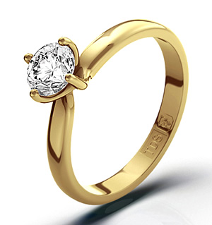Certified 0.50CT Lily 18K Gold Engagement Ring H/SI2