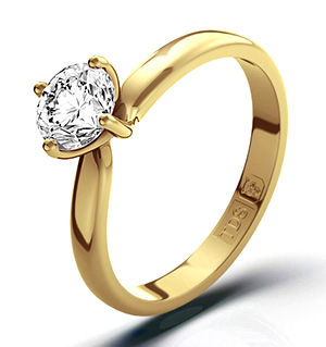 Certified 0.70CT Lily 18K Gold Engagement Ring H/SI1