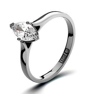 Marquise 18K White Gold Diamond Engagement Ring 0.25CT-G-H/SI