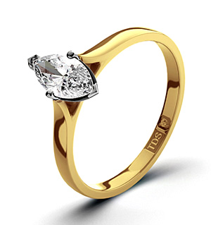 Marquise 18K Gold Diamond Engagement Ring 0.25CT-G-H/SI