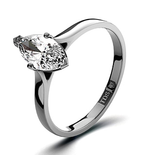 Marquise 18K White Gold Diamond Engagement Ring 0.50CT-G-H/SI