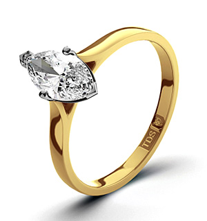 Marquise 18K Gold Diamond Engagement Ring 0.50CT-G-H/SI