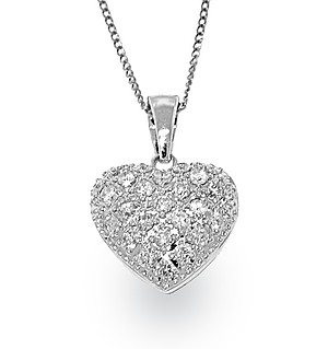 18K White Gold Pave Diamond Cluster Heart Pendant
