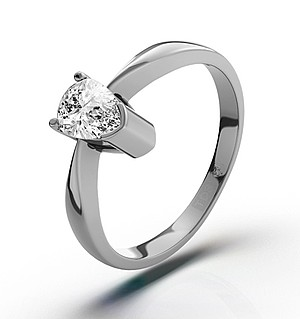 Pear Shaped 18K White Gold Diamond Engagement Ring 0.33CT-G-H/SI