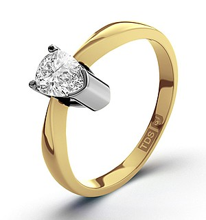 Pear Shaped 18K Gold Diamond Engagement Ring 0.25CT-G-H/SI