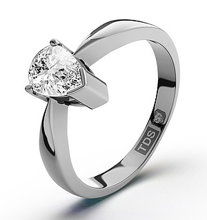 Pear Shaped Platinum Diamond Engagement Ring 0.50CT-G-H/SI